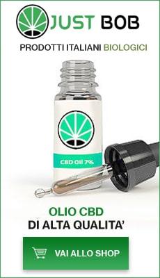 Banner con flacone di olio CBD di alta qualità Justbob
