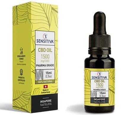 Flacone e Confezione Olio di CBD da 15 ml al 10% - Sensitiva