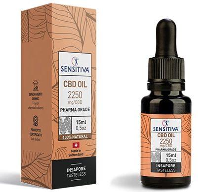 Flacone e Confezione Olio di CBD da 15 ml al 15% - Sensitiva