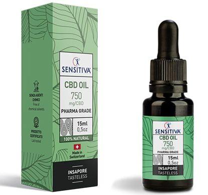 Flacone e Confezione Olio di CBD da 15 ml al 5% - Sensitiva